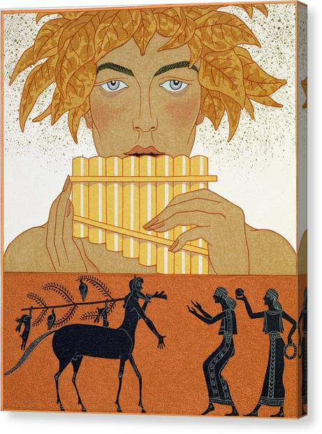 Centaurs Canvas Print - Pan Piper by Georges Barbier