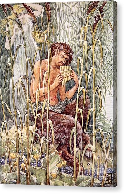 Faun Canvas Print - Pan Playing His Pipes by Walter Crane