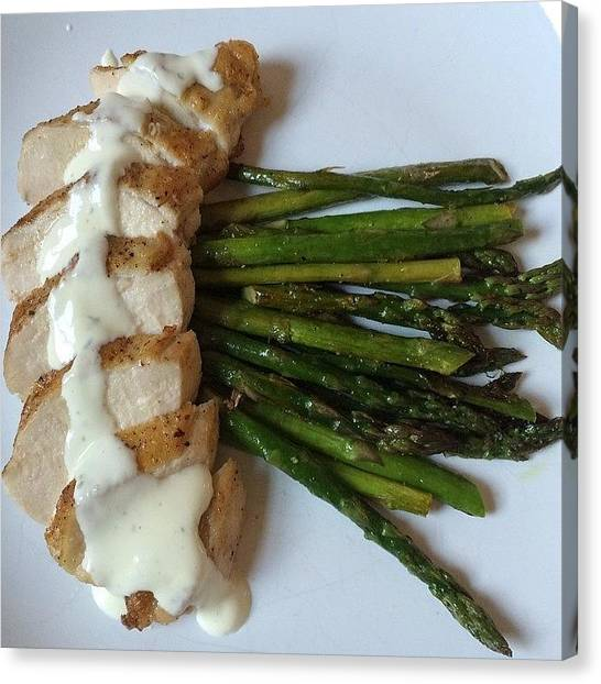 Asparagus Canvas Print - Pan Seared Chicken Breast With A by Candice Boerman