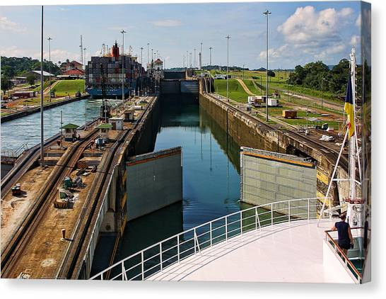Panama Canal Locks With Ships Canvas Print