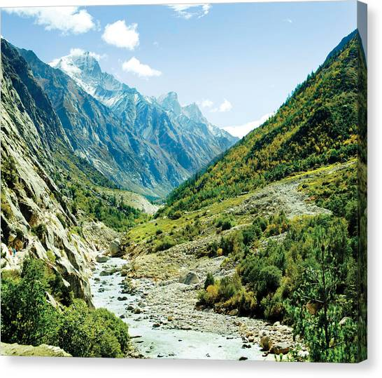 Landmarks Canvas Print - Panarama Of Valley And River Ganga by Raimond Klavins