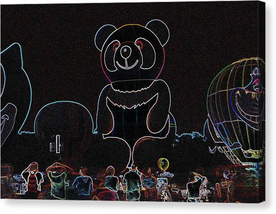 Panda Balloon In Neon Canvas Print