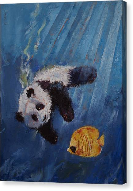 Panda Canvas Print - Panda Diver by Michael Creese