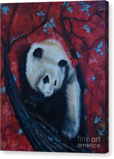 Panda Canvas Print by Donna Chaasadah
