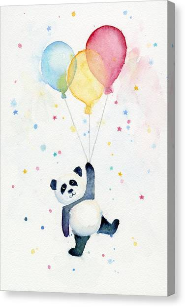 Celebration Canvas Print - Panda Floating With Balloons by Olga Shvartsur