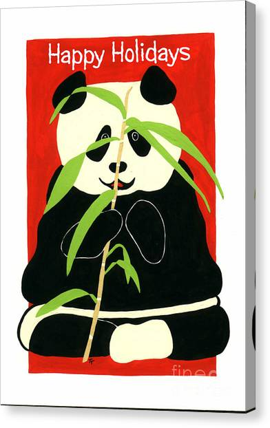 Panda Greetings Canvas Print