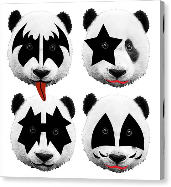 Panda Canvas Print - Panda Kiss  by Mark Ashkenazi