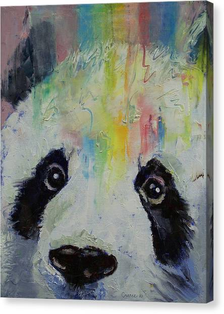 Panda Canvas Print - Panda Rainbow by Michael Creese