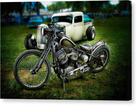 Panhead Harley And Ford Pickup Canvas Print