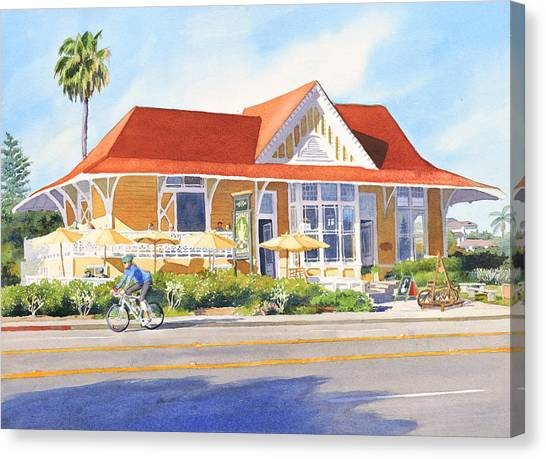 Coffee Shops Canvas Print - Pannikin Encinitas by Mary Helmreich