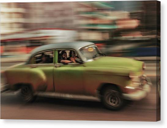 Driving Canvas Print - Panning Havana by Andreas Bauer