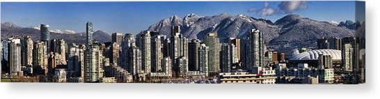 Vancouver Skyline Canvas Print - Pano Vancouver Snowy Skyline by David Smith