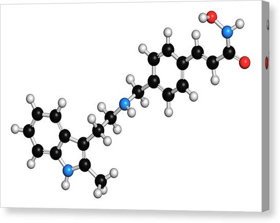 Breast Cancer Canvas Print - Panobinostat Cancer Drug Molecule by Molekuul