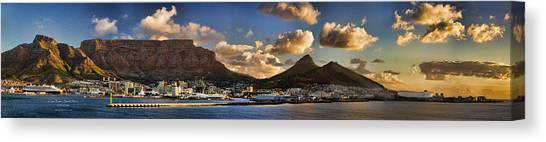 Table Mountain Canvas Print - Panorama Cape Town Harbour At Sunset by David Smith