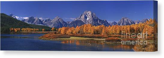 Panorama Fall Morning Oxbow Bend Grand Tetons National Park Wyoming Canvas Print