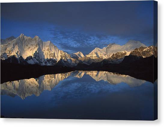 Mount Everest Canvas Print - Panorama From Mt Makalu To Everest by Colin Monteath