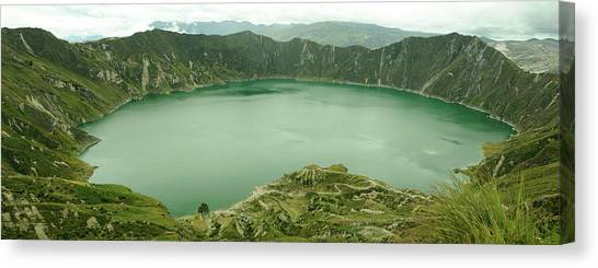 Andes Mountains Canvas Print - Panorama, Laguna Quilotoa, Andes by Christian Heeb