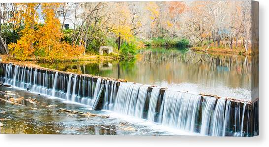 Panorama Of Buck Creek In Autumn Canvas Print