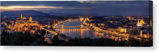 Panorama Canvas Print - Panorama Of Budapest by Thomas D M?rkeberg