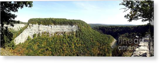 Canvas Print featuring the photograph Panorama Of Cliff At Letchworth State Park by Rose Santuci-Sofranko