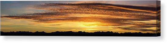 Prairie Sunsets Canvas Print - Panorama Of Colourful Dramatic Clouds by Michael Interisano