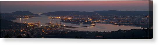 Panorama Of Ferrol From Mount Marraxon Galicia Spain Canvas Print
