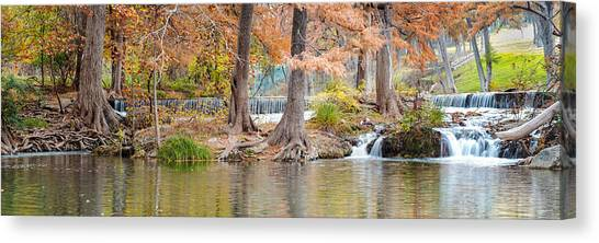 Panorama Of Guadalupe River In Hunt Texas Hill Country Canvas Print