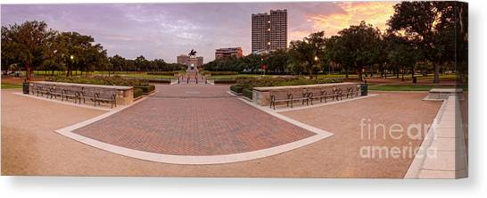 University Of Houston Canvas Print - Panorama Of Hermann Park With Sam Houston Statue At Sunrise - Museum District Houston Texas by Silvio Ligutti