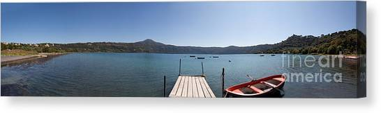 panorama of Lake Albano including pontoon and red rowing boat Canvas Print