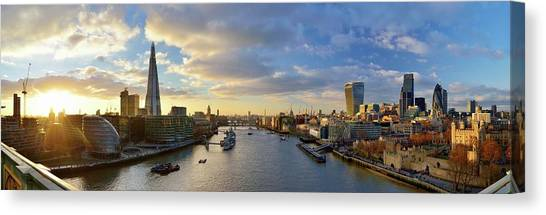 Panorama Of London Skyline At Sunset Canvas Print by Vladimir Zakharov