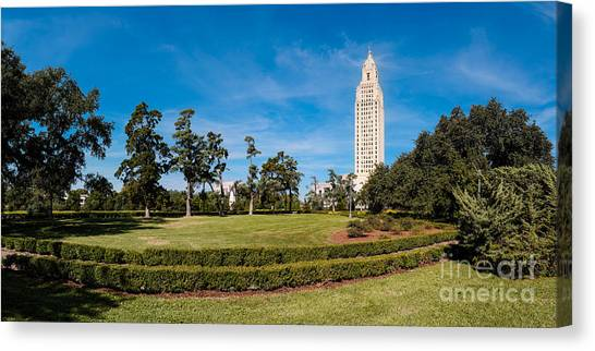 Mississippi State University Canvas Print - Panorama Of Louisiana State Capitol Building And Gardens - Baton Rouge by Silvio Ligutti