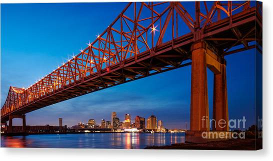 Gumbo Canvas Print - Panorama Of New Orleans And Crescent City Connection From Gretna At Dusk - Louisiana by Silvio Ligutti