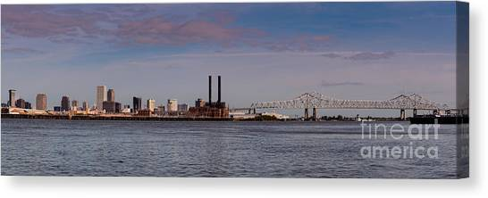 Gumbo Canvas Print - Panorama Of New Orleans And Crescent City Connection From Gretna - Louisiana by Silvio Ligutti