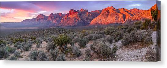 Mojave Desert Canvas Print - Panorama Of Rainbow Wilderness Red Rock Canyon - Las Vegas Nevada by Silvio Ligutti