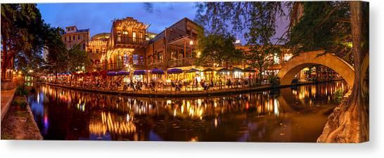 Panorama Of San Antonio Riverwalk At Dusk - Texas Canvas Print