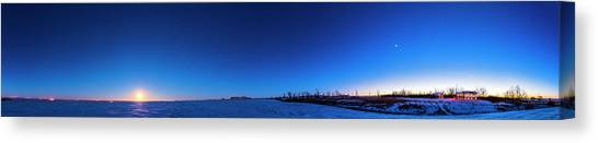 Wolf Moon Canvas Print - Panorama Of The Winter Sky With Full by Alan Dyer