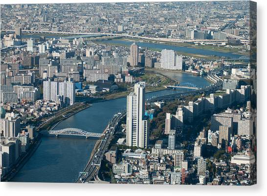 Tokyo Skyline Canvas Print - Panorama Of Tokyo by Jill Mitchell