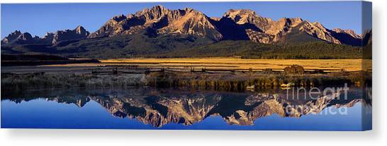 Panorama Reflections Sawtooth Mountains Nra Idaho Canvas Print