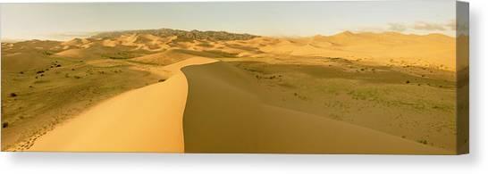 Gobi Canvas Print - Panorama Sand Dunes At Sunset Gobi by Tom Norring