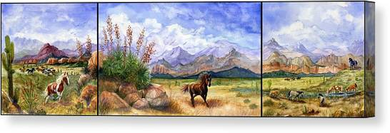 Black Stallion Canvas Print - Panorama Triptych Don't Fence Me In  by Marilyn Smith