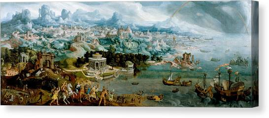 Canvas Print featuring the painting Panorama With The Abduction Of Helen Amidst The Wonders Of The Ancient World by Maerten van Heemskerck