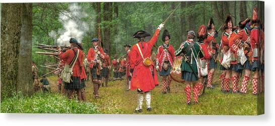 Panoramic Battle Of Bushy Run Canvas Print by Randy Steele