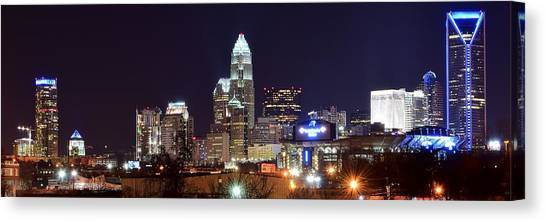 Charlotte Bobcats Canvas Print - Panoramic Charlotte Night by Frozen in Time Fine Art Photography