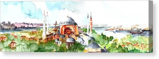 Panoramic Hagia Sophia In Istanbul Canvas Print
