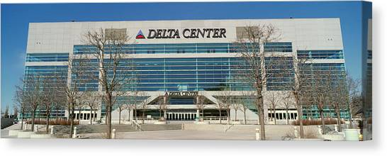 Utah Jazz Canvas Print - Panoramic Of Delta Center Building by Panoramic Images