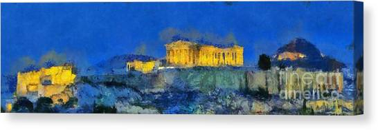 Panoramic Painting Of Acropolis In Athens Canvas Print