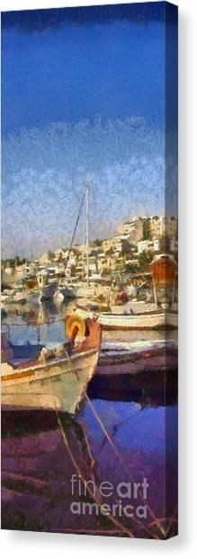 Panoramic Painting Of Mikrolimano Port Canvas Print