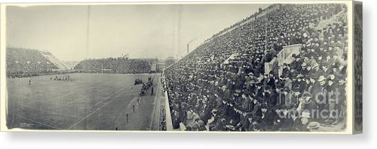 Harvard University Canvas Print - Panoramic Photo Of Harvard  Dartmouth Football Game by Edward Fielding