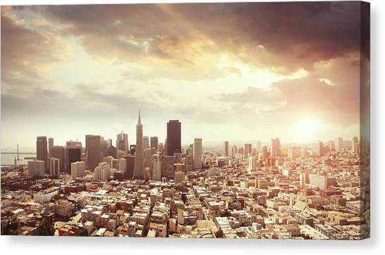 Panoramic Photo Of San Francisco In Canvas Print by Narvikk