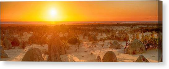 Canvas Print featuring the photograph Panoramic Photo Of Sunset At The Pinnacles by Yew Kwang